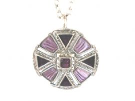 Vintage signed 'Miracle' Pendant - Circular with dark Purple Enamel and light Mauve Art Glass Gems (SOLD)